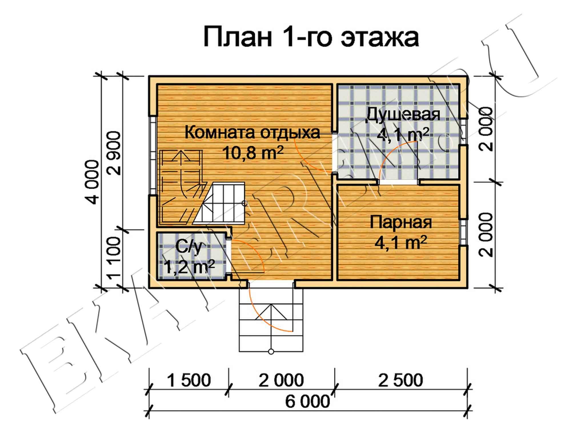 проекты бани из бруса 6х4 с фото