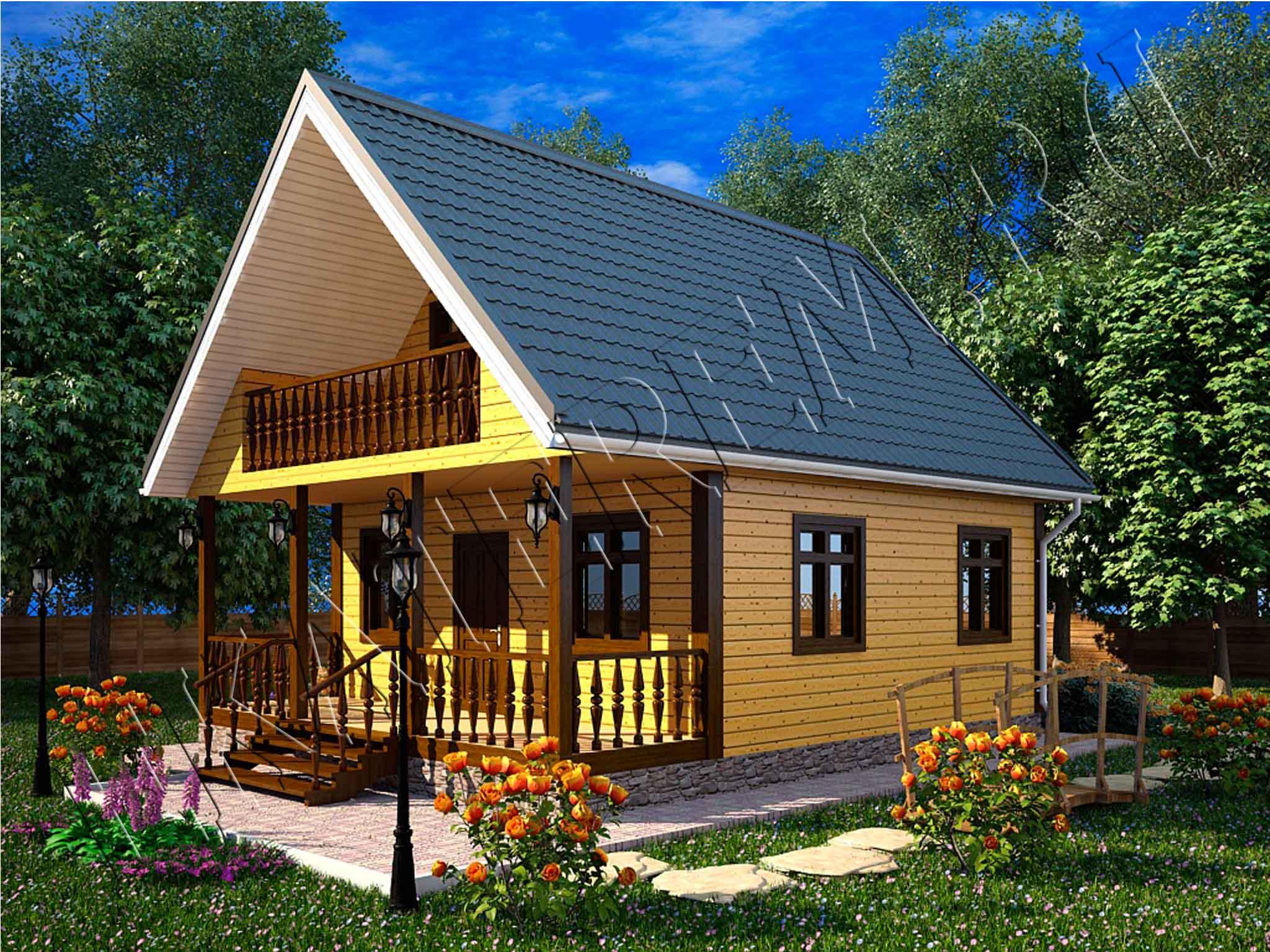 Дачный дом с балконом и террасой..