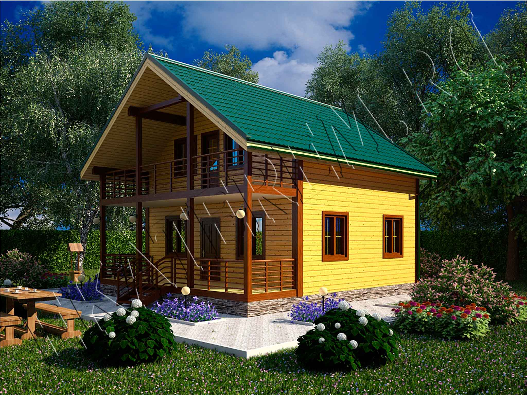 Проект каркасного дома кд-18 терраса+балкон / каркасный дом .