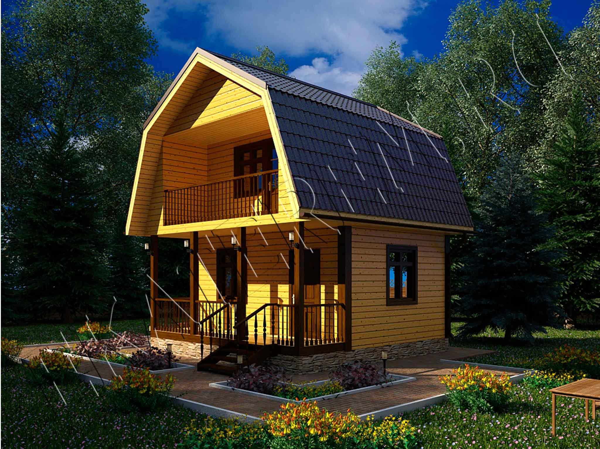 Проект н-22: дом из бруса 6х6 м. 290 000 рублей - екатерем.