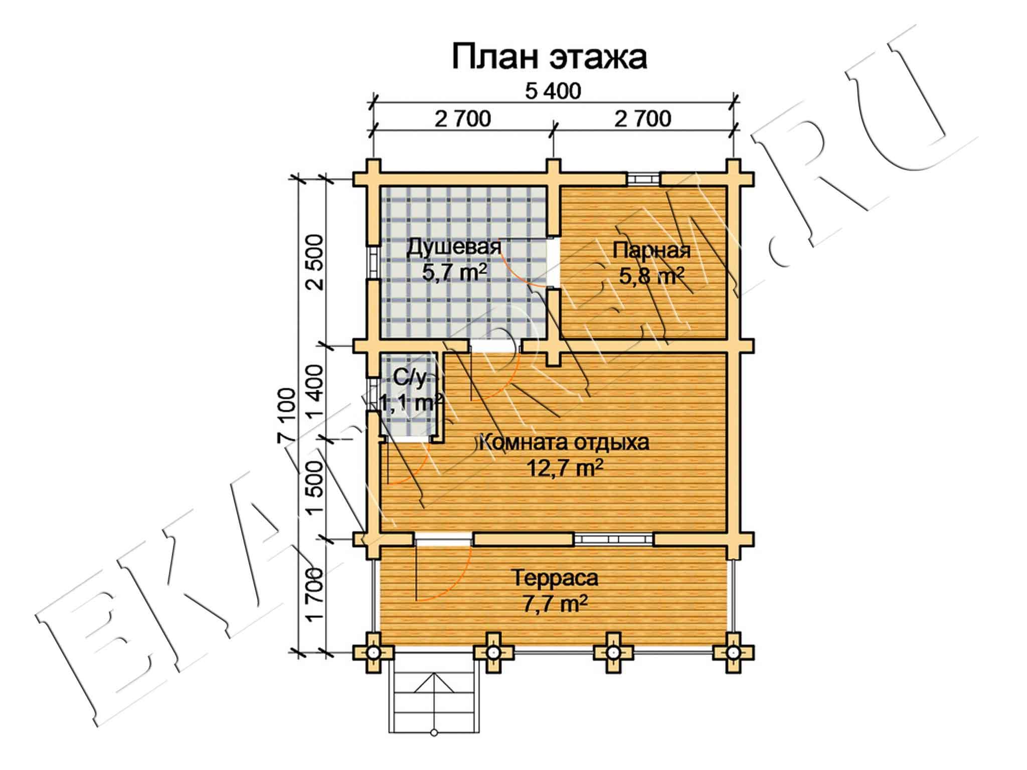 Схема бани с террасой